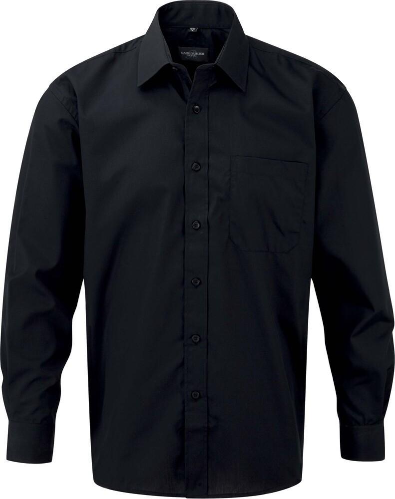 Russell Collection RU934M - Poly/Katoenen Easy Care Poplin Overhemd Met Lange Mouw