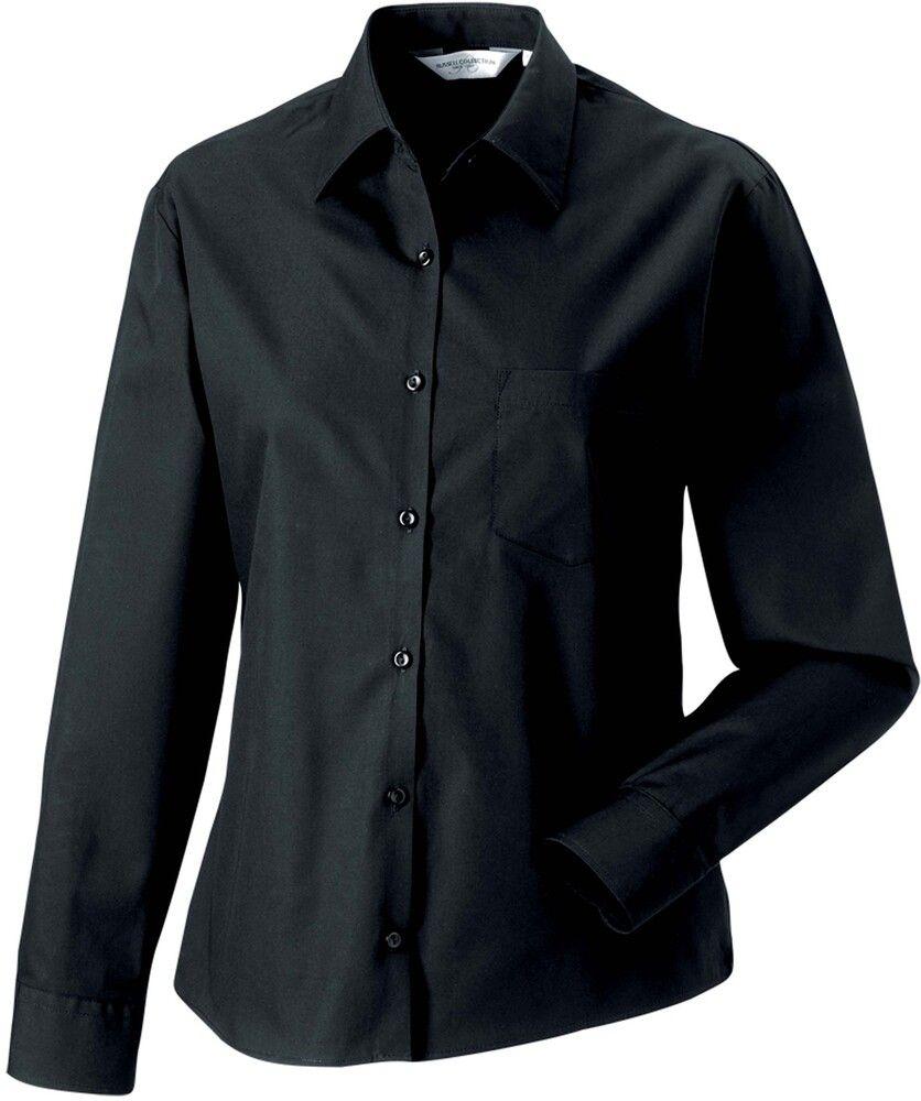 Russell Collection RU936F - Camicia popeline puro cotone maniche lunghe