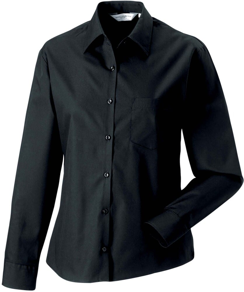 Russell Collection RU936F - Ladies' Long Sleeve Pure Cotton Easy Care Poplin Shirt