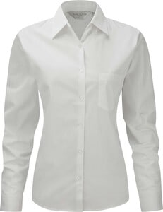 Russell Collection RU936F - Ladies Long Sleeve Pure Cotton Easy Care Poplin Shirt