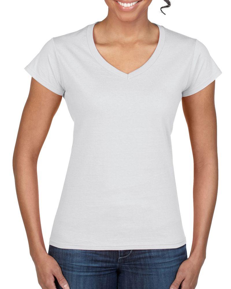 camiseta cuello v mujer gildan