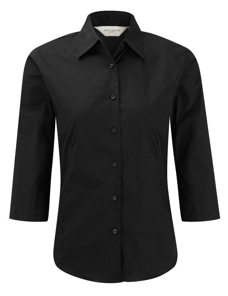 Russell Collection J946F - Camicia da donna aderente con manica  ¾ easycare.