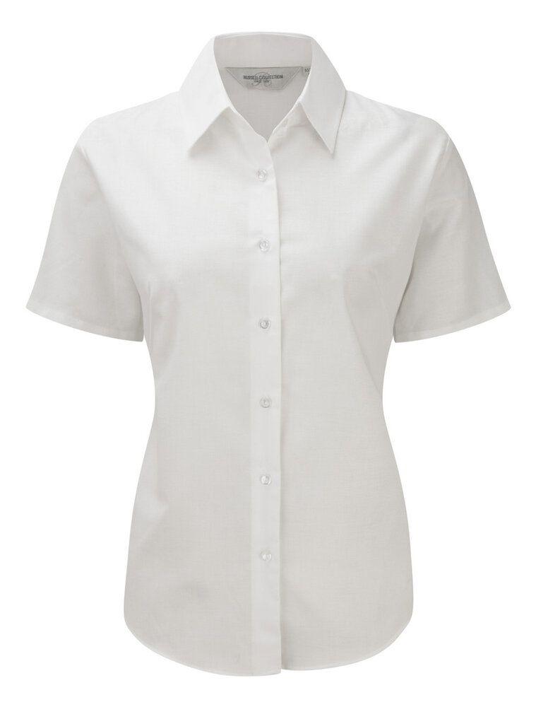 Russell J933F - Camisa Oxford de manga corta para mujer