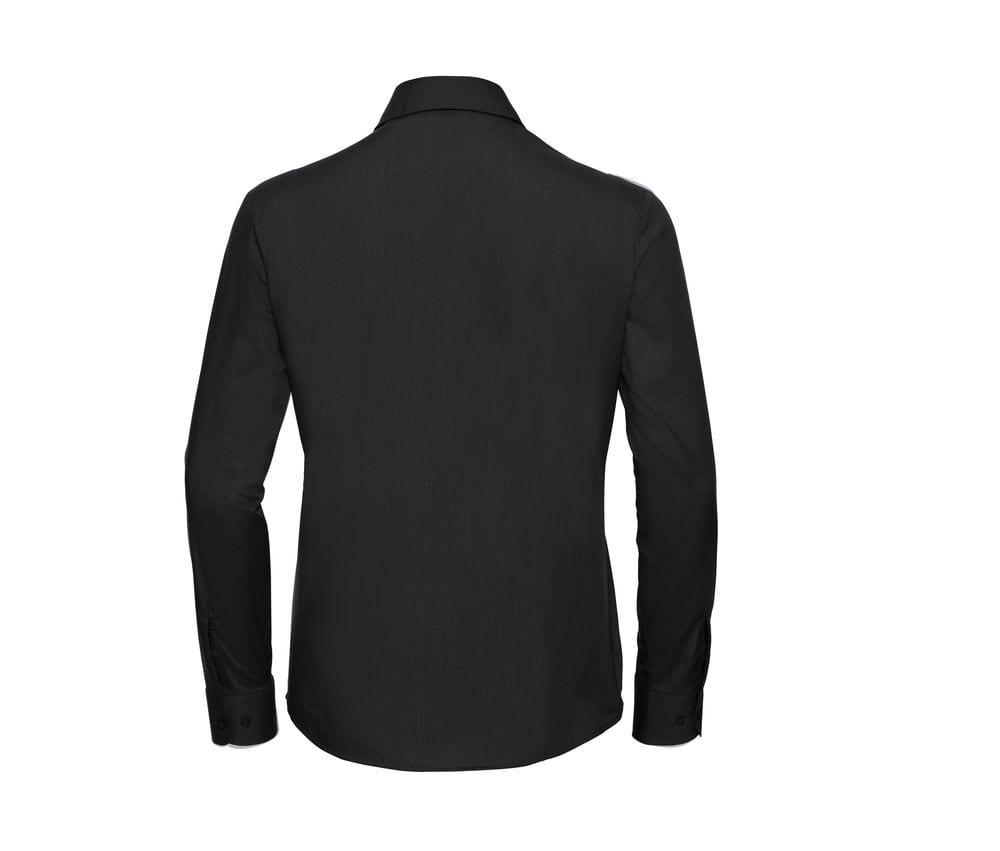 Russell J934F - Easy Care gemengd poly/katoen poplin damesoverhemd met lange mouwen