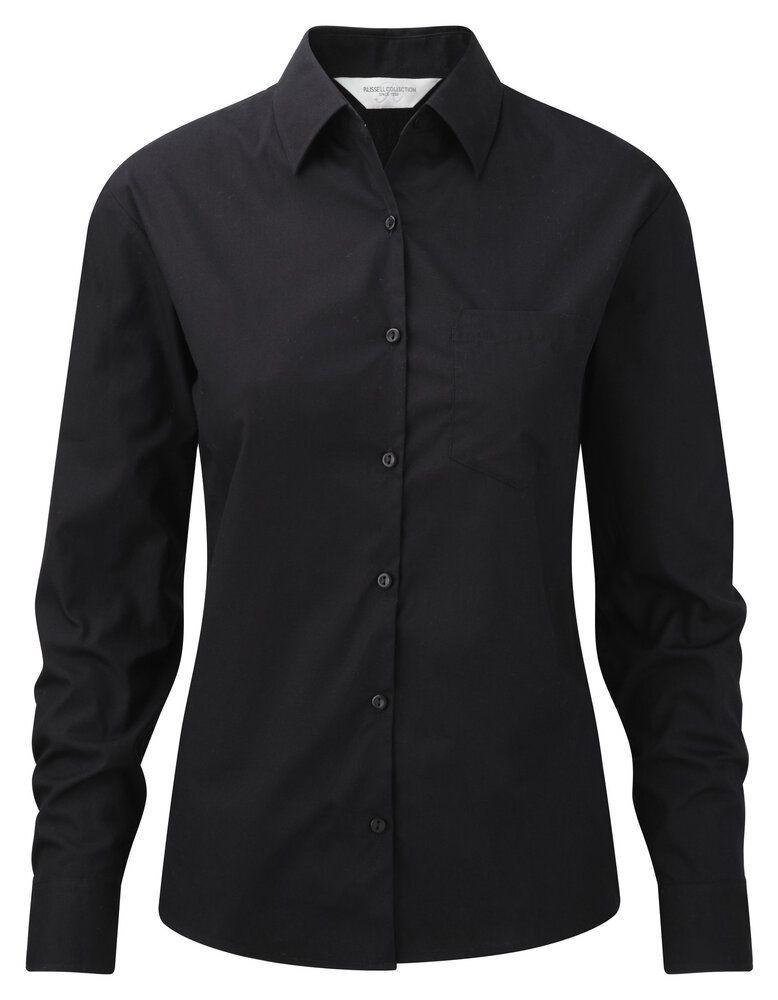 Russell J936F - Camisa pure cotton de popelina de manga larga y de fácil cuidado