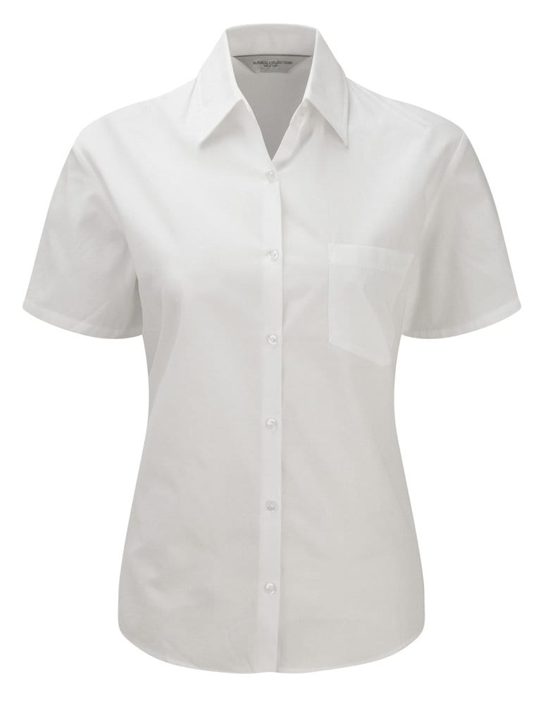 Russell Collection J937F - Women's short sleeve pure cotton easycare poplin shirt