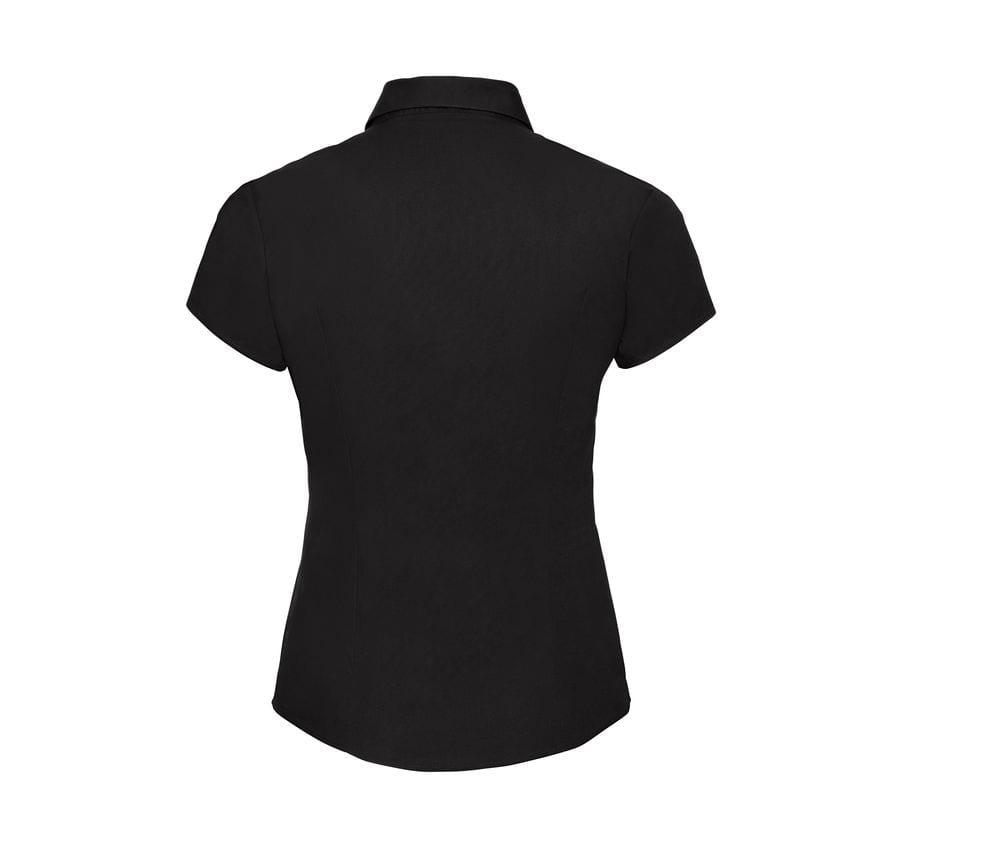 Russell Collection J947F - Camicia sagomata elasticizzata a manica corta da Donna easycare
