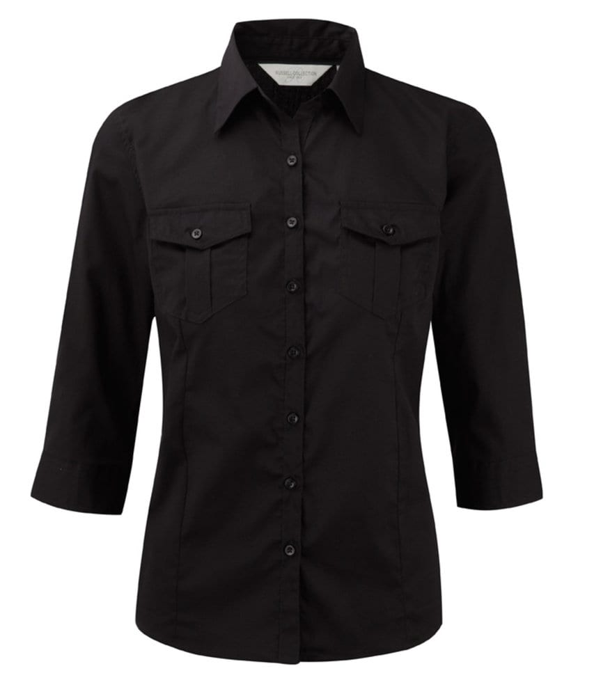 Russell Collection J918F - Women's roll-sleeve ¾ sleeve shirt