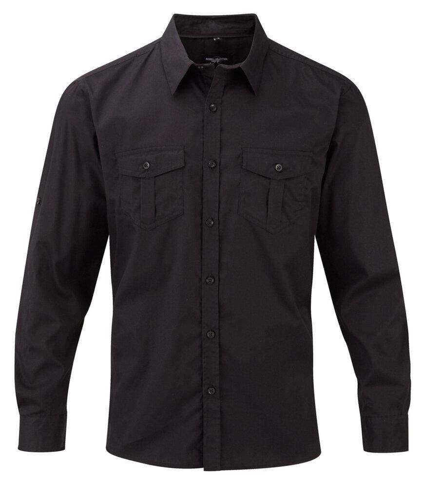 Russell J918M - Camisa con manga larga que se puede arremangar