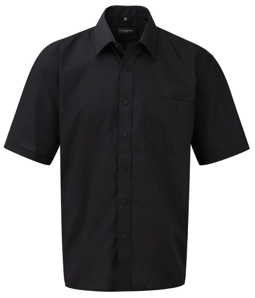 Russell J935M - Poly/katoen Easy Care poplin overhemd met korte mouwen