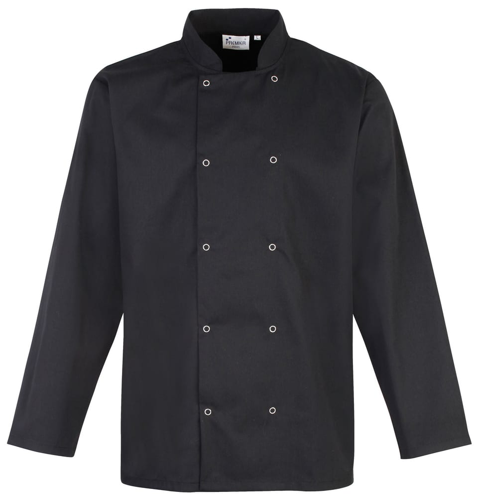 Premier PR665 - Unisex Long Sleeve Stud Front Chef's Jacket