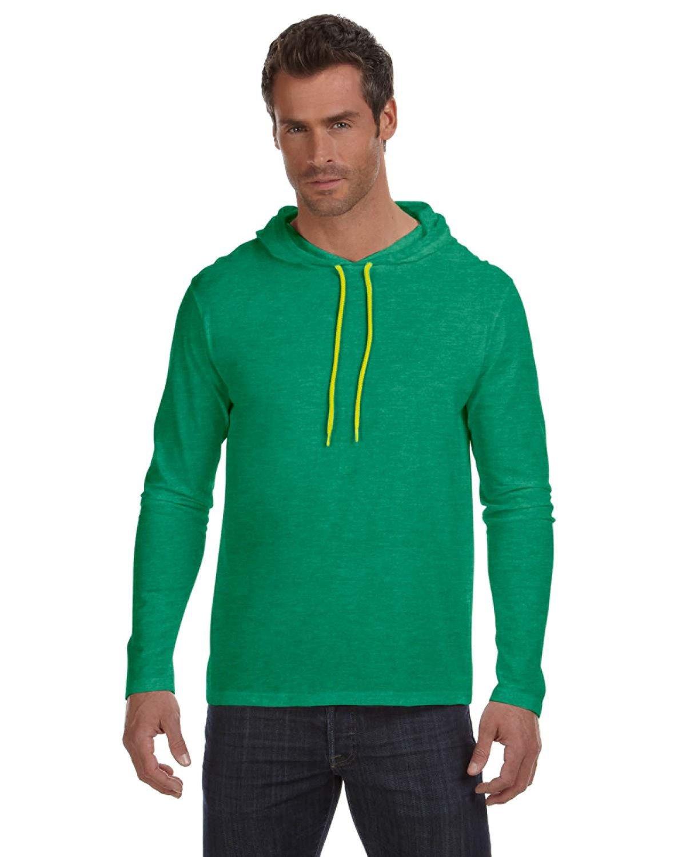 Anvil Men/'s Ringspun Cotton Lightweight Hooded Hoodie Shirt 9 COLORS A987 S-3XL