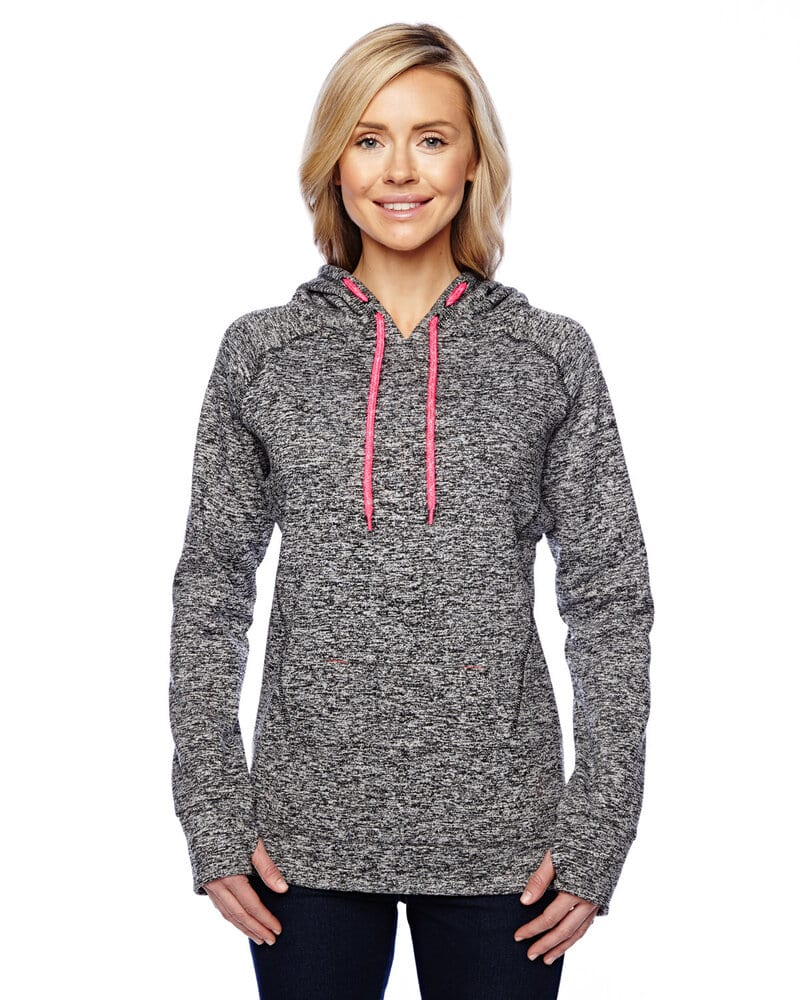 J. America 8616 - Ladies' Cosmic Poly Contrast Hooded Pullover Sweatshirt