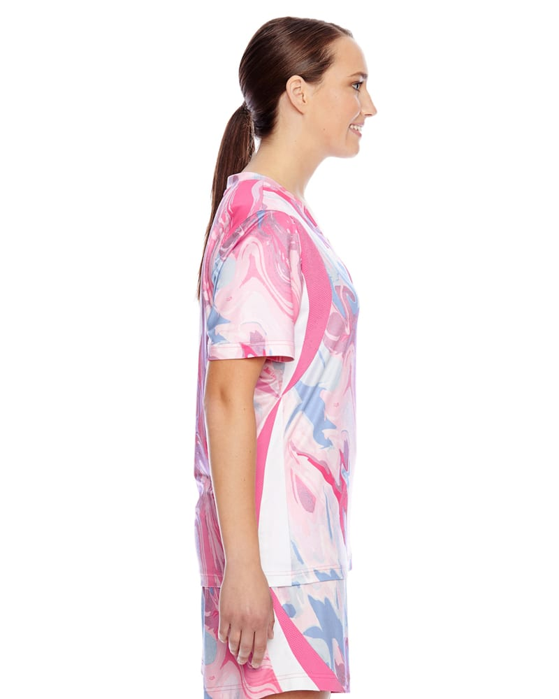 Team 365 TT12W - Ladies Short-Sleeve V-Neck All Sport Sublimated Pink Swirl Jersey