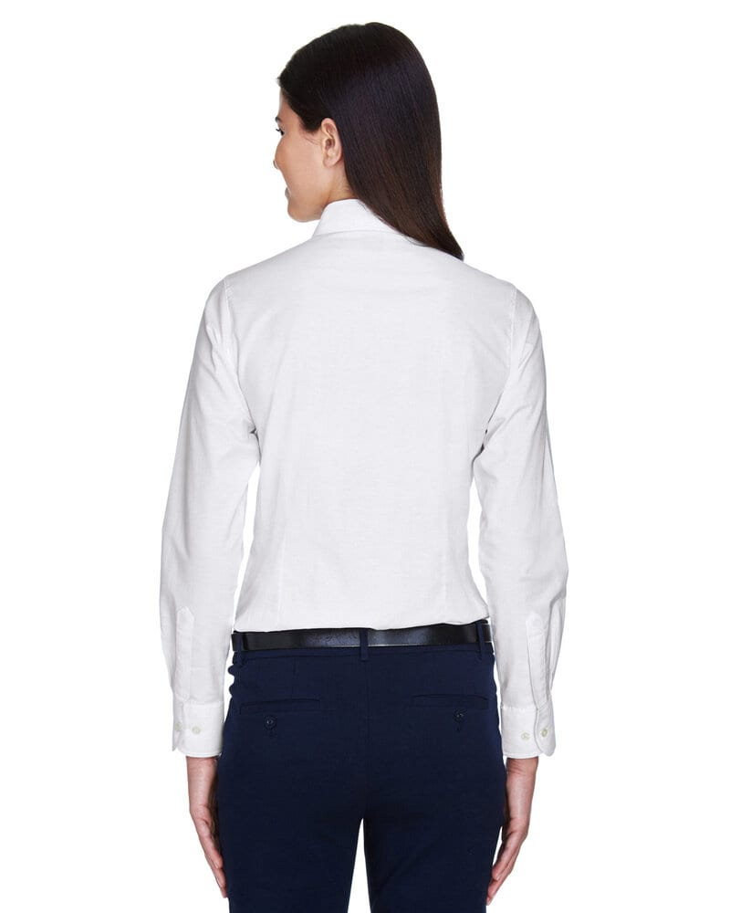 Harriton M600W - Ladies Long-Sleeve Oxford with Stain-Release