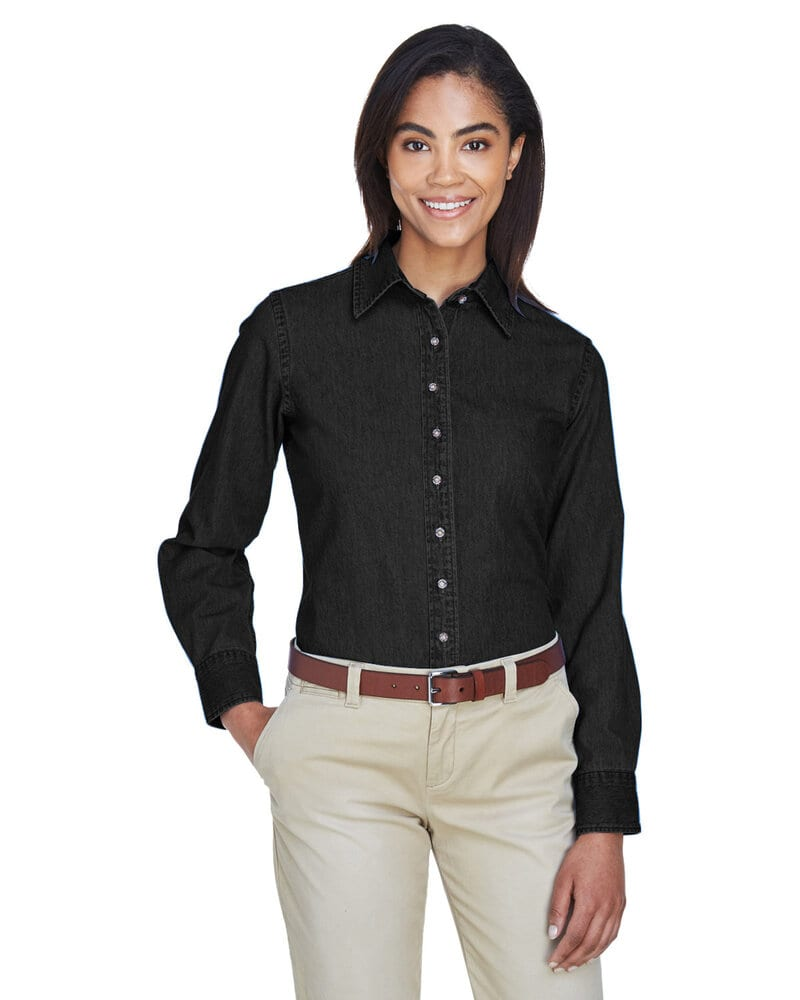 Harriton M550W - Ladies 6.5 oz. Long-Sleeve Denim Shirt
