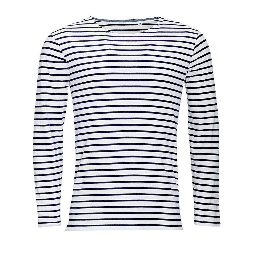 Sol's 01402 - Men's Long Sleeve Striped T-Shirt Marine