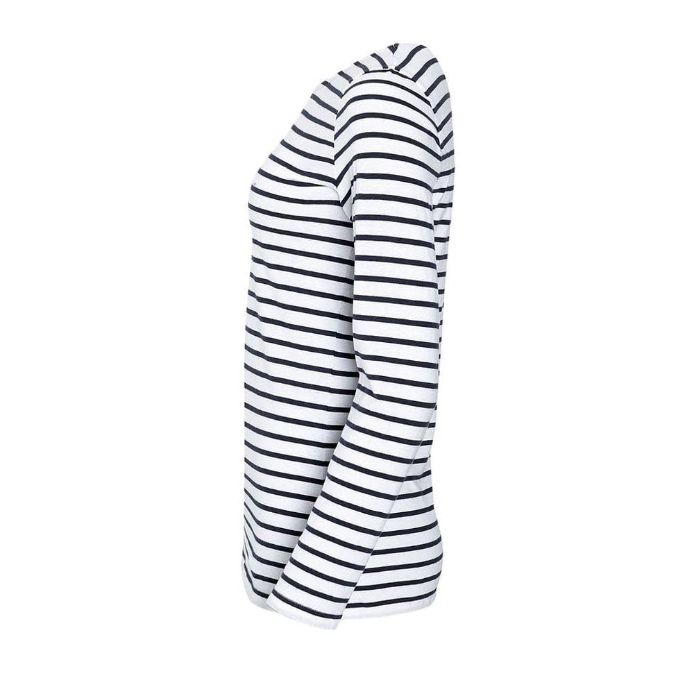 Sol's 01403 - Women's Long Sleeve Striped T-Shirt Marine