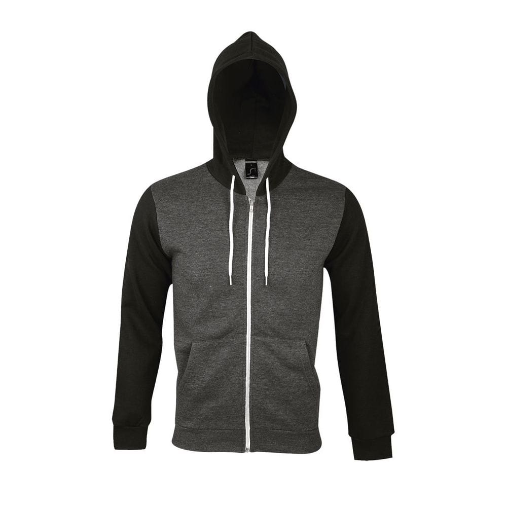 Sol's 47700 - Unisex Hooded Zipped Jacket With White Contrasted Drawstring Silver