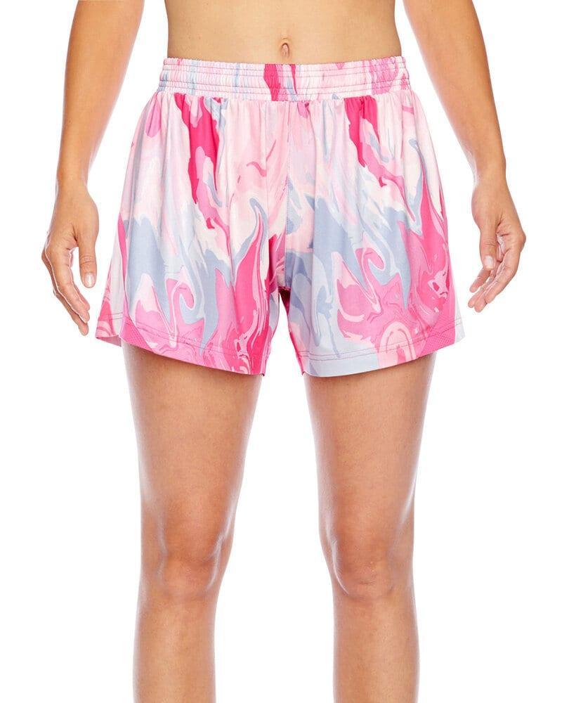 Team 365 TT42W - Ladies All Sport Sublimated Pink Swirl Short