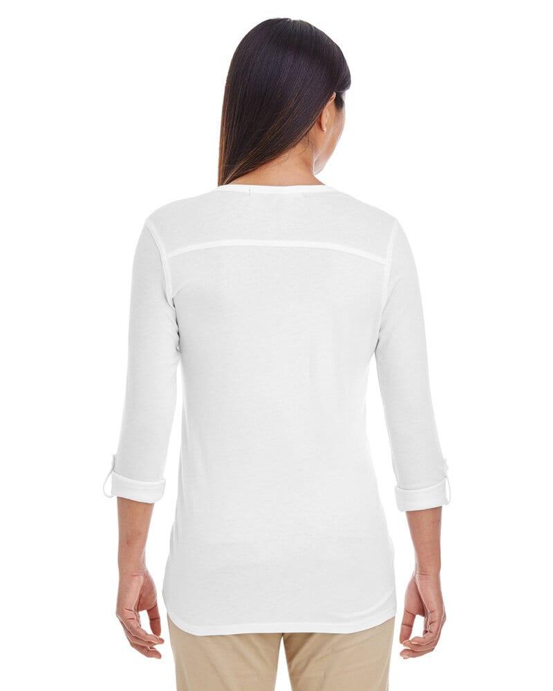 Devon & Jones DP186W - Ladies Perfect Fit  Y-Placket Convertible Sleeve Knit Top
