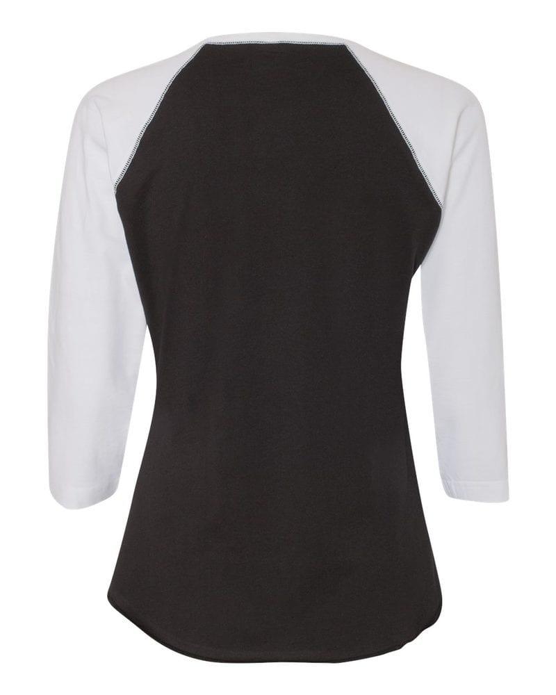 LAT 3530 - Ladies' Fine Jersey Three-Quarter Sleeve Baseball T-Shirt
