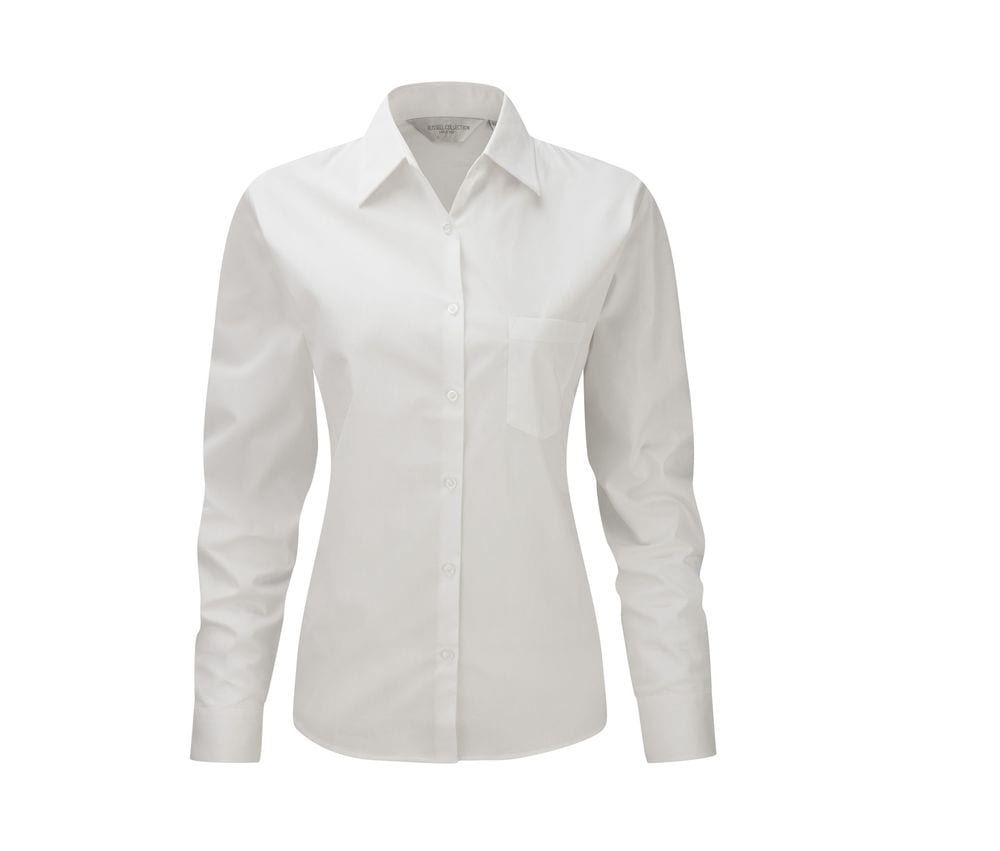 Russell Collection JZ36F - Long Sleeve Pure Cotton Easy Care Poplin Shirt