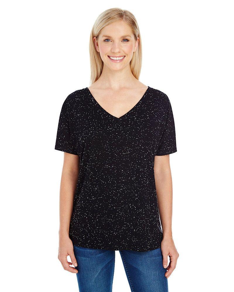Threadfast 203FV - T-shirt à manches courtes et col V en moucheture Triblend pour femmes