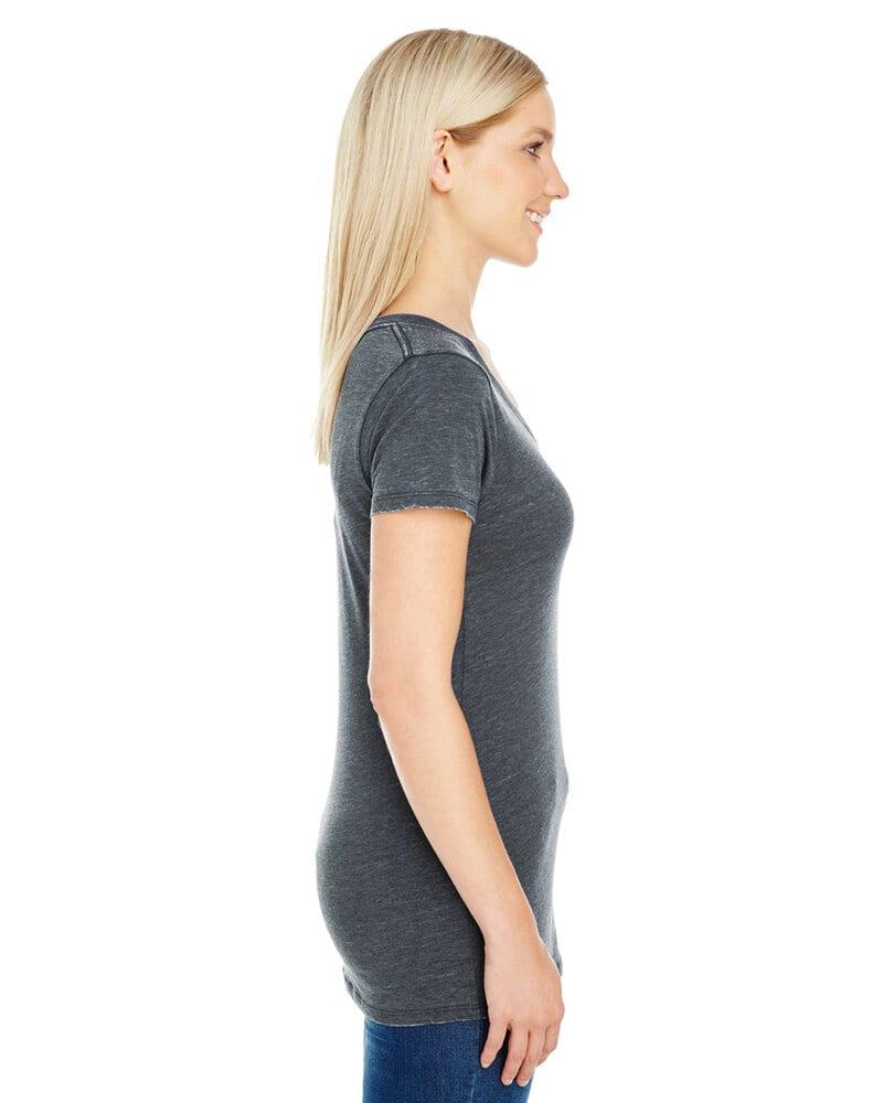 Threadfast 208B - T-shirt à manches courtes et col V en teinture vintage pour femmes