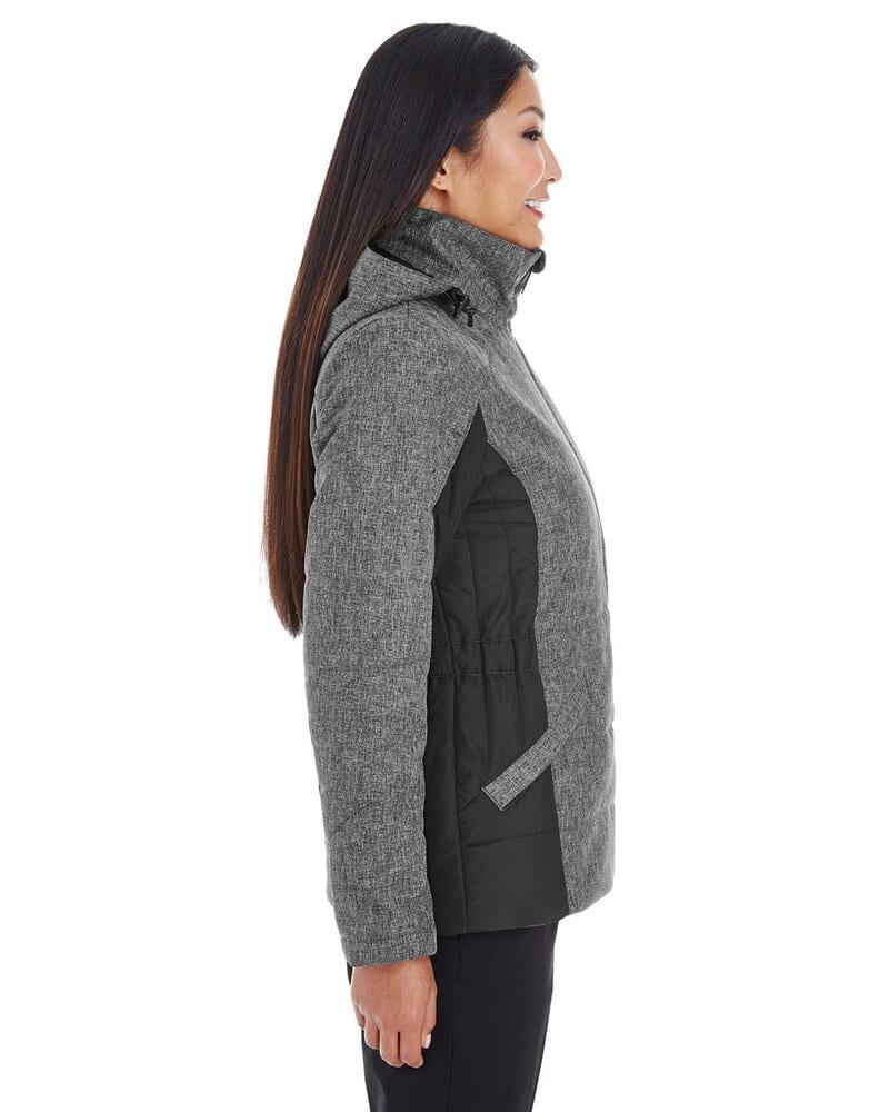 Devon & Jones DG710W - Ladies Midtown Insulated Fabric-Block Jacket with Crosshatch Melange