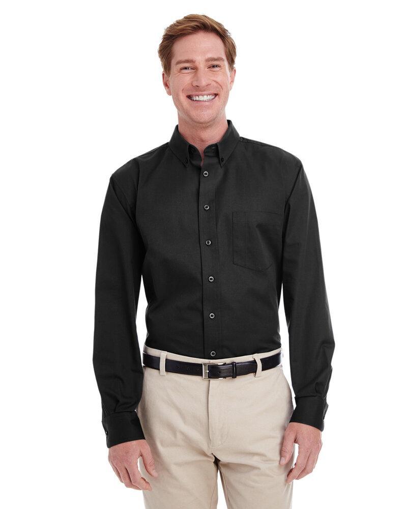 Harriton M581T - Men's Tall Foundation 100% Cotton Long Sleeve Twill Shirt with Teflon™