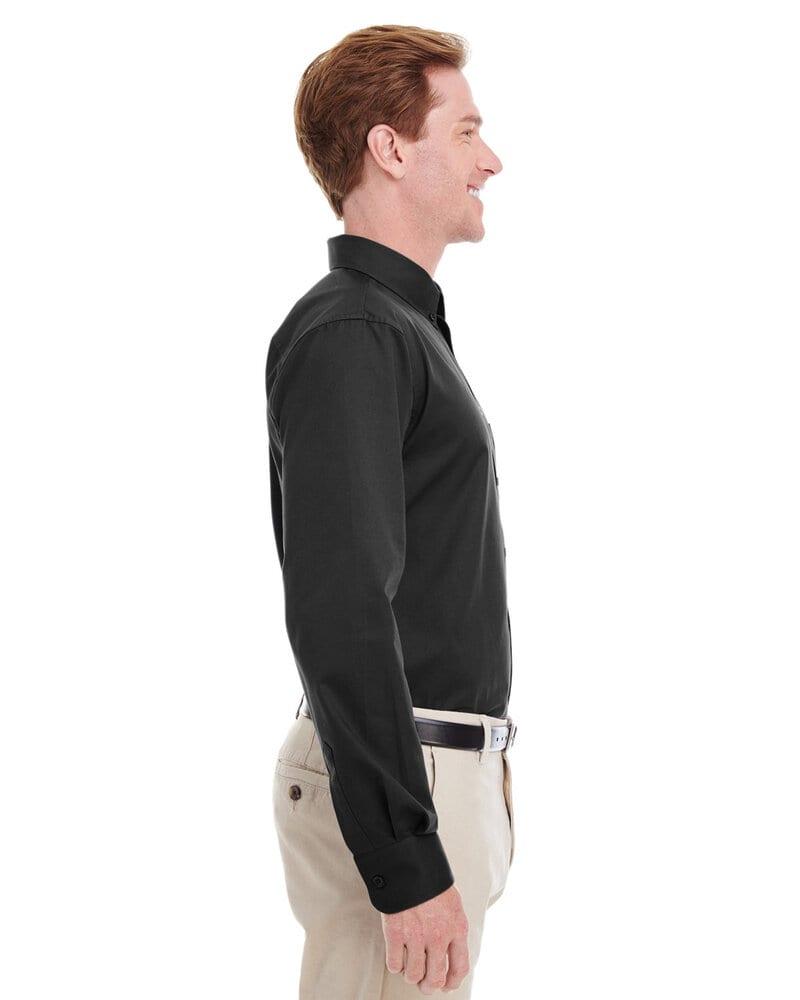 Harriton M581T - Chemise Hommes Tall Foundation 100% coton à manches longues en sergé avec Teflon