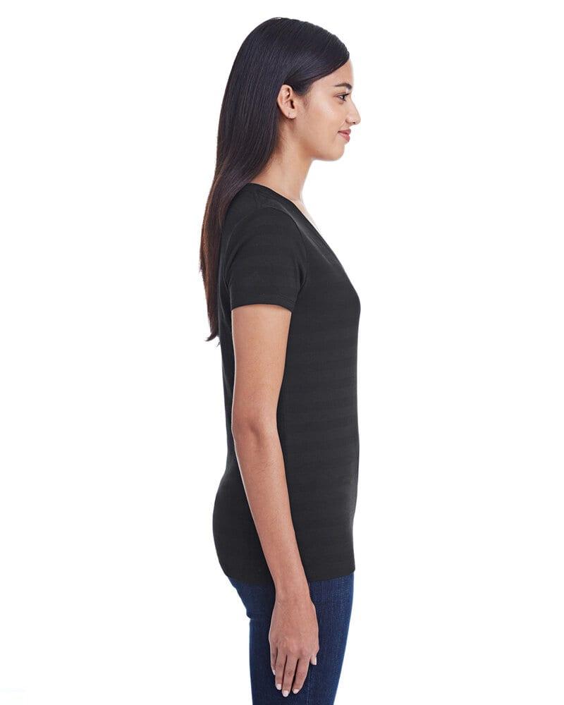 Threadfast 252RV - Ladies Invisible Stripe V-Neck T-Shirt