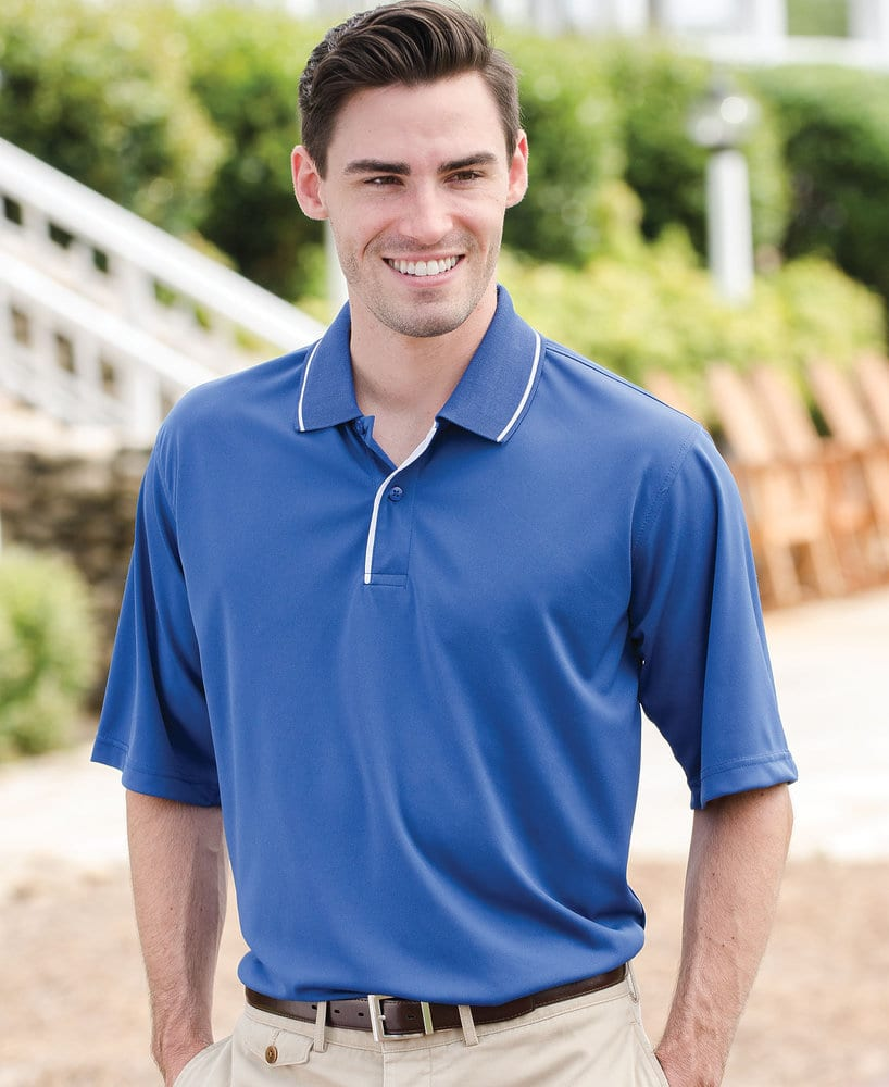 Whispering Pines WP0362 - 24/7 Adult Striped Collar and Placket Performance Sport Shirt