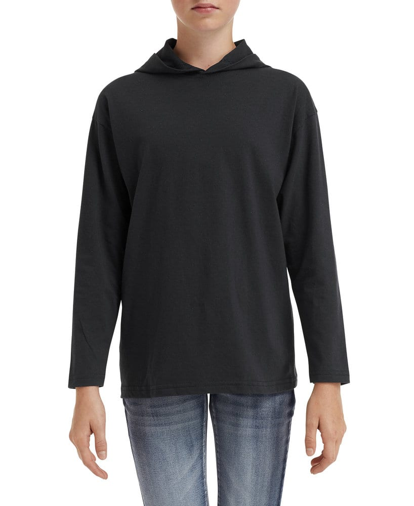 Anvil 987B - Youth Lightweight Long Sleeve Hooded Tee