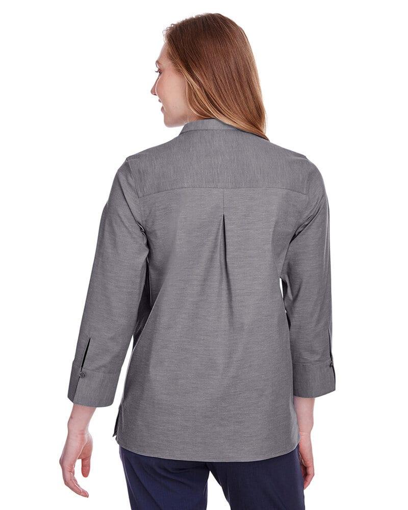 Devon & Jones DG562W - Ladies Crown Collection Stretch Pinpoint Chambray 3/4 Sleeve Blouse
