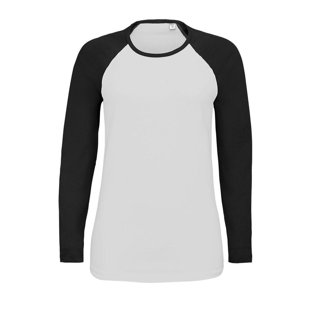 Sol's 02943 - Women's Two Colour T Shirt With Long Raglan Sleeves Milky Lsl