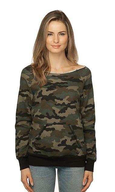 Royal Apparel 3120cmo - Women's Camo Fleece Raglan Sweatshirt