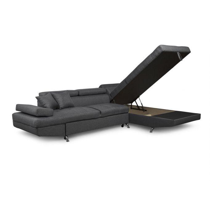 Atelier Mundo SJ-379 - Canapé d'angle convertible 5 places avec coffre de rangement en tissu