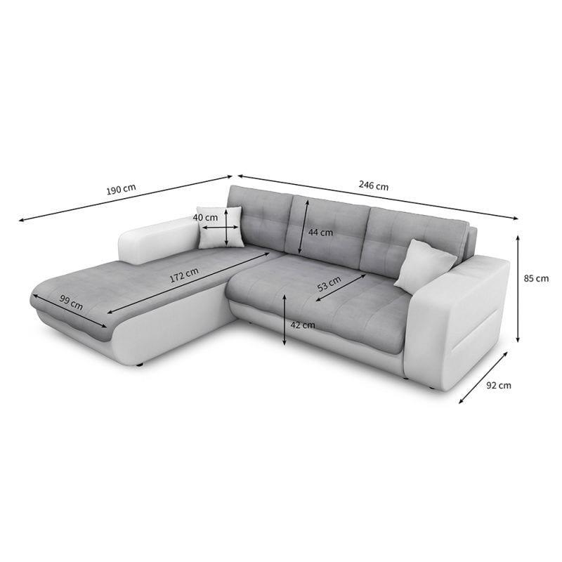 Atelier Mundo SJ-298 - Canapé d'angle convertible 4 places en simili et microfibre