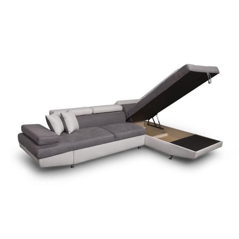 Atelier Mundo SJ-375 - Canapé d'angle convertible 5 places avec coffre de rangement en microfibre et simili