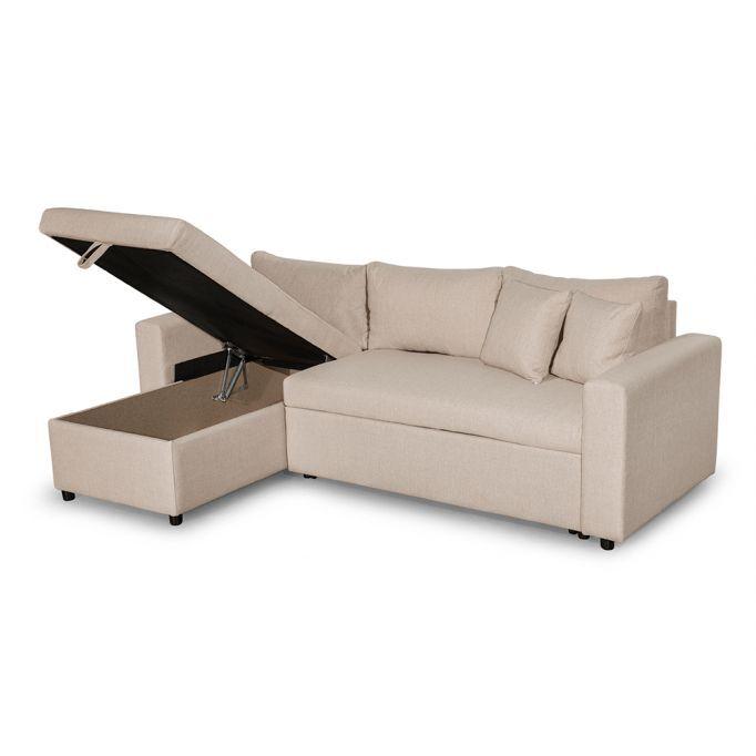 Atelier Mundo SA-239P - Canapé d'angle réversible, convertible en tissu avec coffre de rangement