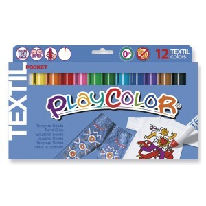 Playcolor 10561 - Solid Tempera Set for Fabrics