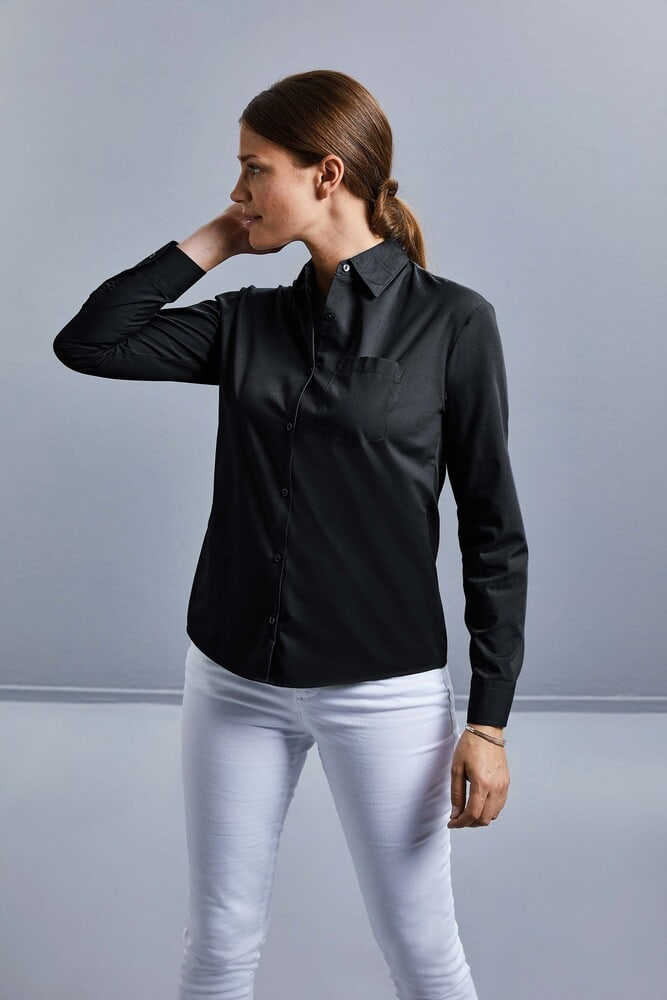 Russell Collection RU934F - Ladies' Long Sleeve Polycotton Easy Care Poplin Shirt