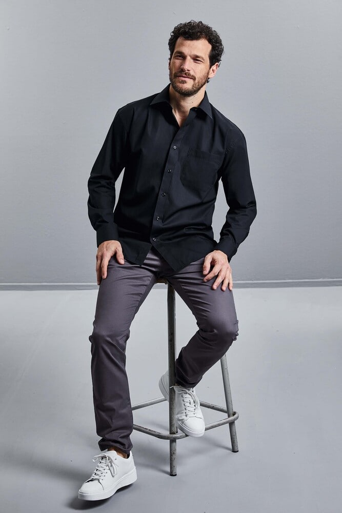 Russell Collection RU936M - Men's Long Sleeve Pure Cotton Easy Care Poplin Shirt
