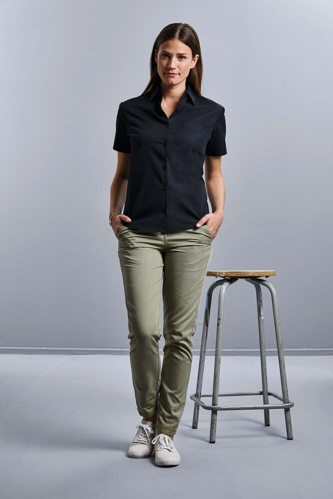 Russell Collection RU937F - Ladies' Short Sleeve Pure Cotton Easy Care Poplin Shirt