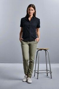 Russell Collection RU937F - Ladies Short Sleeve Pure Cotton Easy Care Poplin Shirt