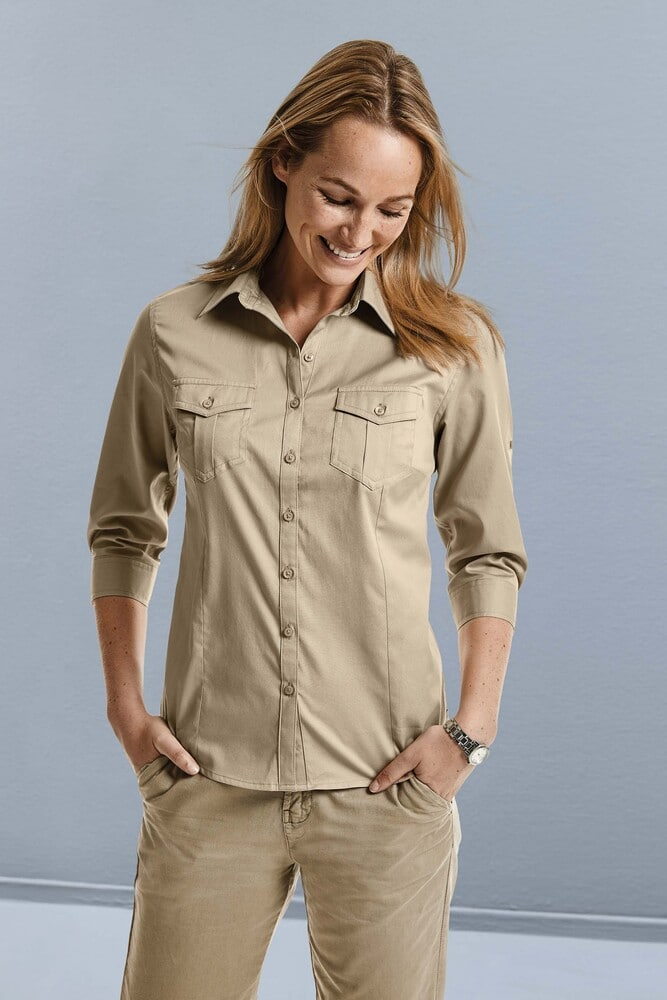 Russell Collection RU918F - Ladies' Roll Sleeve Shirt -3/4 Sleeve