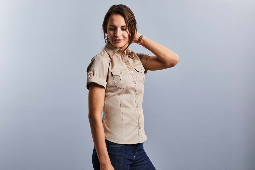 Russell Collection RU919F - Ladies` Roll Sleeve Shirt