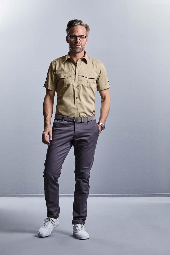 Russell Collection RU919M - Camicia uomo maniche corte con risvolto